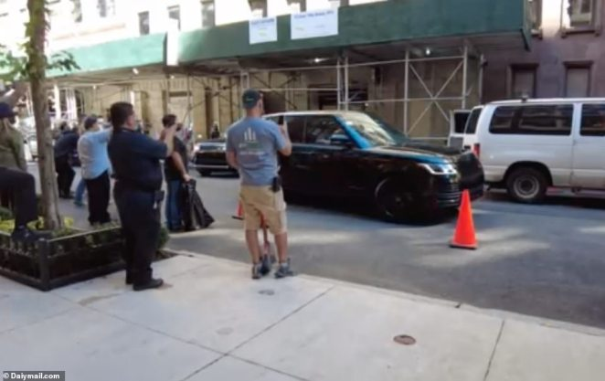 Their fleet of gas-guzzling SUVs were spotted exiting the Carlyle Hotel on Manhattan's Upper East Side late Friday morning