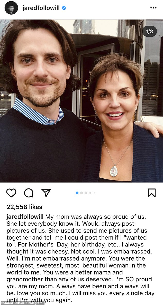 Tribute: Jared, 34, shared a series of photos of his mother taken over the years