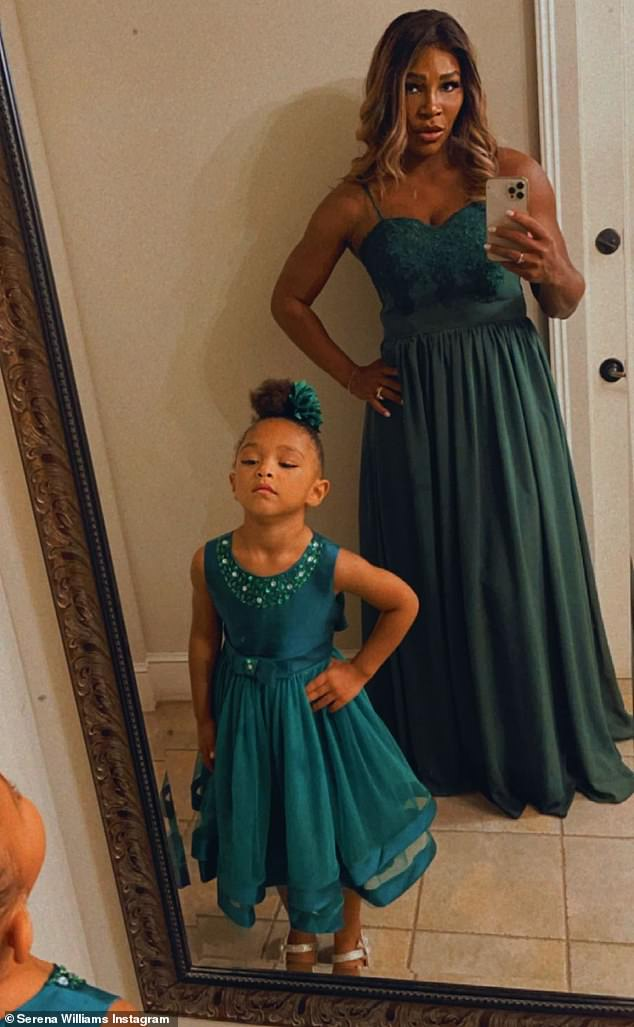 Cute:Serena and her daughter often share the same outfits, with the doting mother sharing the cute photo opportunities on her social media channels