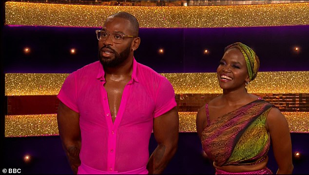 Shocking: Ugo Moni reveals he attended his father's funeral on Saturday night before his first Strictly Come Dancing performance (pictured with Oti Mabuse)
