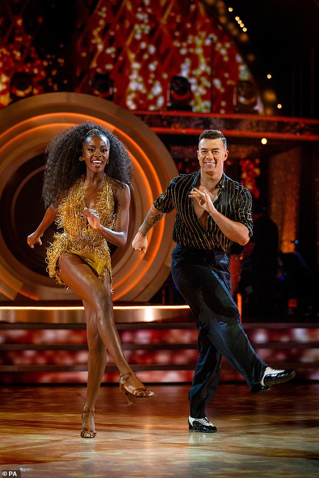 Amazing: AJ Odudu and Kai Widdington also earned a first nine from head judge Shirley for the first dance, with their jaw-dropping jive to Gold Dust by DJ Fresh