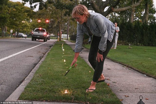 'Shine a light for Gabby' event took place in her hometown of Blue Point, pictured, and in West Islip