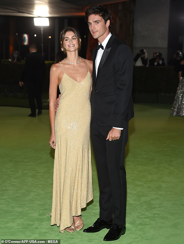 Better together: Kaia Gerber and Jacob Elordi made their red carpet debut as a couple duringThe Academy Museum of Motion Pictures Opening Gala in Los Angeles on Saturday evening