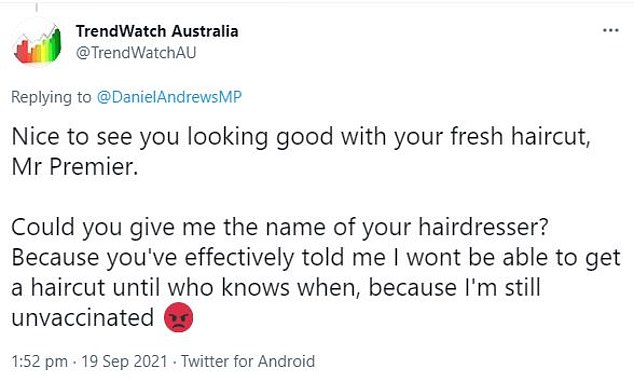'Nice to see you looking good with your fresh haircut, Mr Premier,' a user tweeted last week