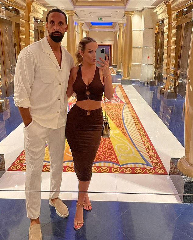 Childless: She is currently with her husband Rio Ferdinand, 42, traveling to Dubai without their children
