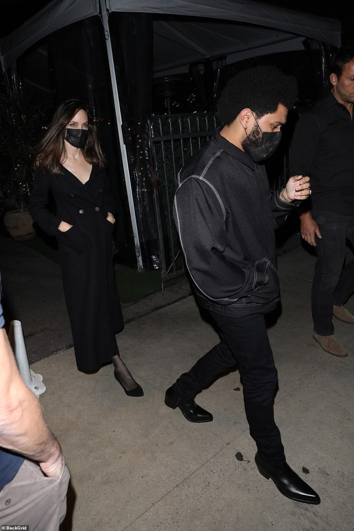 New couple alert? Oscar winner Angelina Jolie continued to fuel romance rumors with The Weeknd by dining together at Giorgio Baldi in Santa Monica on Saturday night