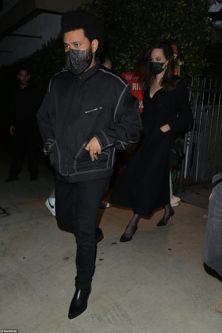 15-year age gap: And while Angelina made sure to arrive to the eatery separately from The Weeknd (born Abel Tesfaye) at 8:05pm, she had no problem walking out with him