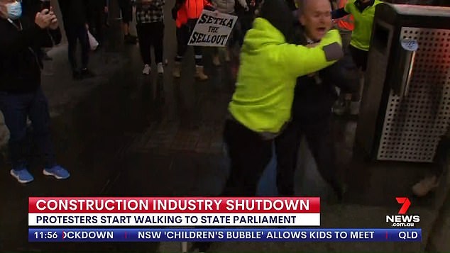 Sickening: TV networks are now hiring security to protect journalists on the ground, leading to a 'shortage of guards' in the city, reports The Australian. MrDowsley has now been assigned a security detail after covering the protests unprotectedlast week