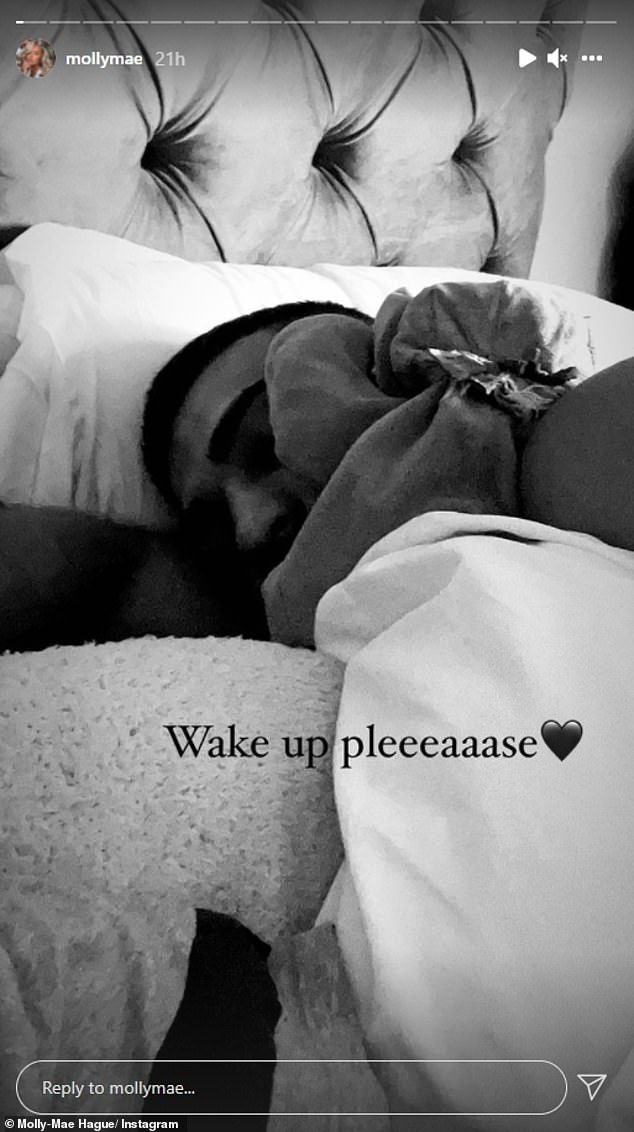 Cute: Molly-Mae Hague cuddled up to her boyfriend Tommy Fury in recent Instagram posts as she recovered from surgery after a cancer scare