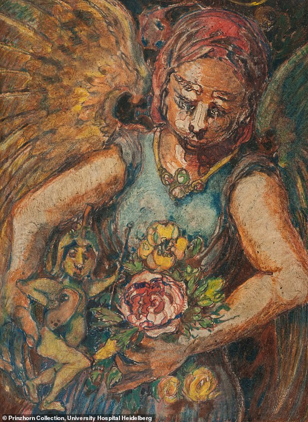 One painting by paranoid schizophrenic artist Franz Bühler, titled The Choking Angel (pictured) was compared to that of Albrecht Dürer - while the likes of Max Ernest, Salvador Dalí and Paul Klee revered the collection