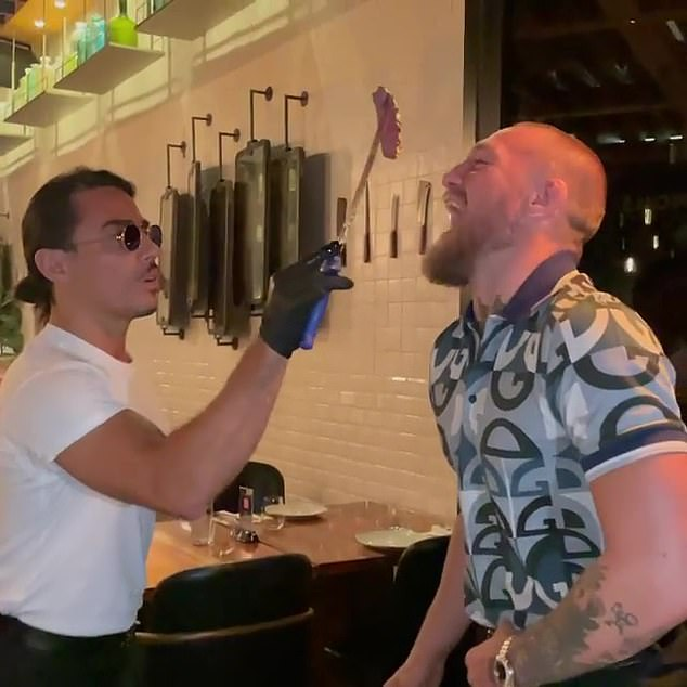 The Turkish-born butcher already has 19 restaurants around the world that are popular among celebs including Conor McGregor (pictured together), P Diddy, David Beckham and Leonardo DiCaprio.  New branch sure to be London hotspot