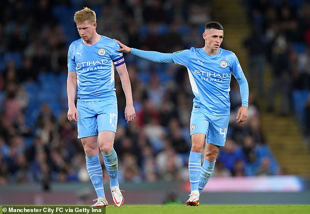 Phil Foden (right) and Kevin de Bruyne (left) have returned from injury for Manchester City