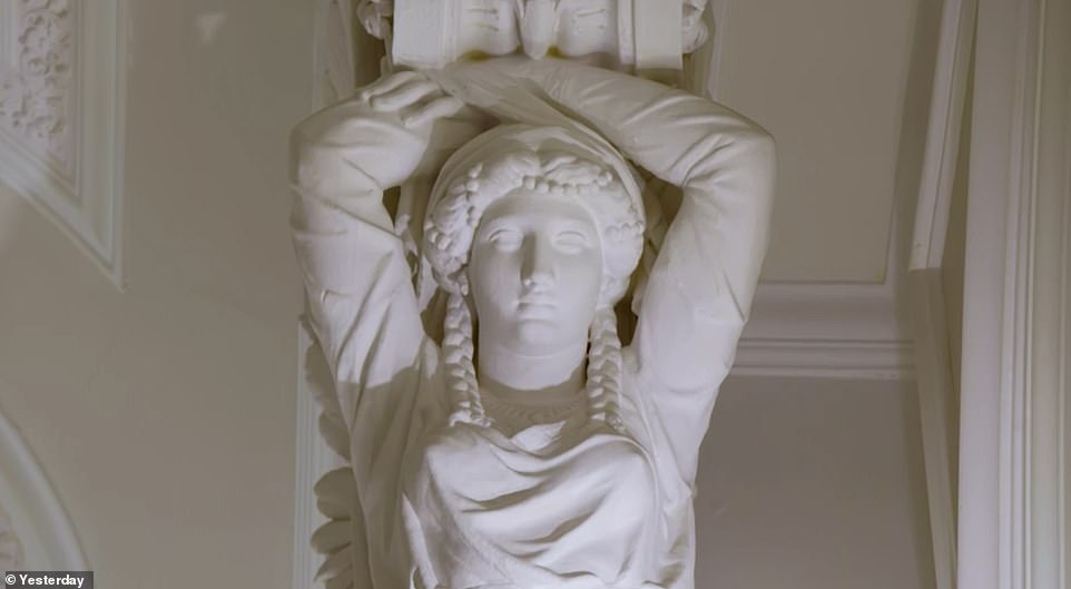 Also among the decorations in the exclusive hotel are a series of carved female figures such as the one above