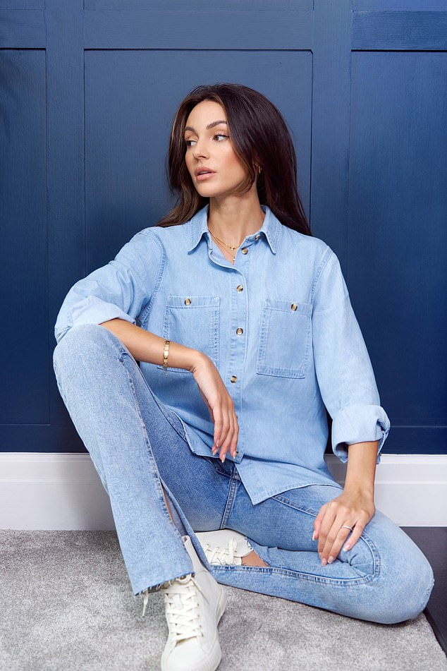Double denim: She looked great in a coordinated ensemble that she teamed with white sneakers