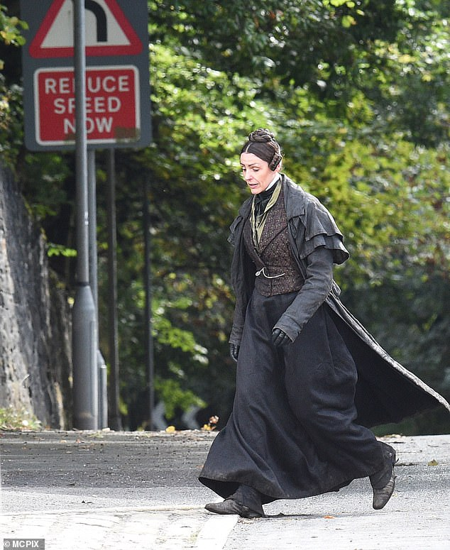LOOKING THE PART: Suran Jones, 42, transformed into 'the first modern lesbian' Anne Lister as she donned a Victorian outfit while filming the second series of Gentleman Jack