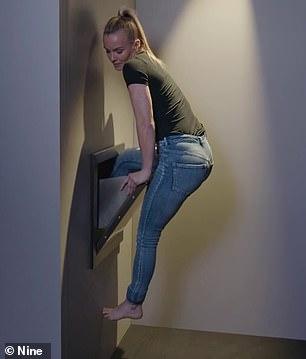 The model failed multiple times to climb inside