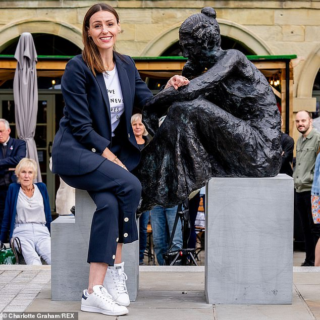 Unveiling: This comes as the star unveiled a newly-built statue of Anne Lister - the 'first modern lesbian' - in Halifax on Sunday