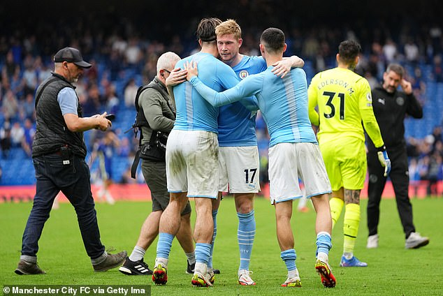 De Bruyne (middle) and Foden (right) impressed during City's 1-0 victory over rivals Chelsea