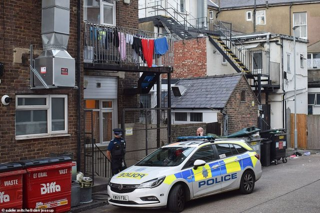 Koci Selamaj, from Eastbourne, East Sussex, was arrested in the seaside town in the early hours of Sunday (pictured: Police in Eastbourne on Sunday)