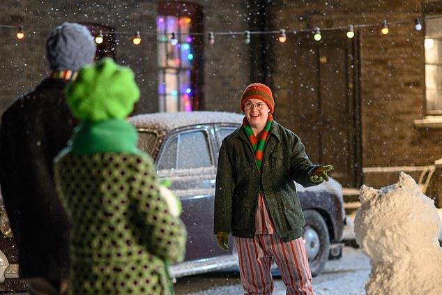 Fan favourite: Fan favorite Reggie Jackson (Daniel Laurie) was also seen in a particularly festive photo