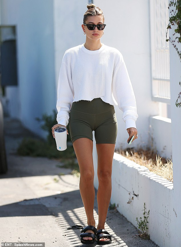 Luxe for less: The bargain shoes are similar to a style worn by some of the world's biggest stars, including Hailey Bieber (pictured)