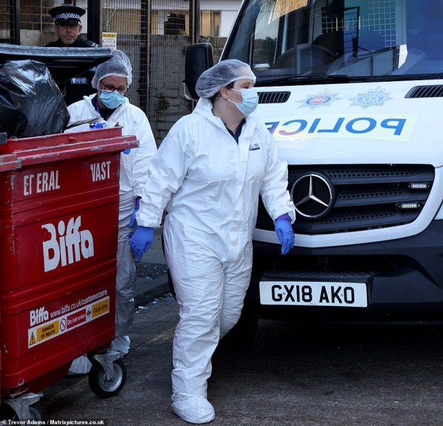 Pictured:Police and forensics believed to be investigating the death of Sabina Nessa are pictured at a flat in Eastbourne