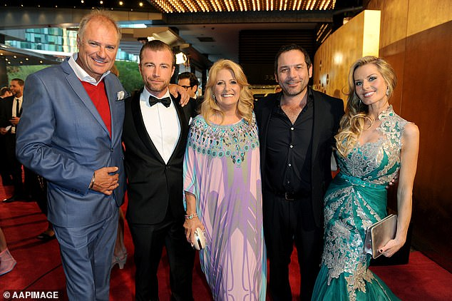Glittering resume: Byrne has enjoyed a long, successful career as an actress and pop singer. Byrne is pictured with the cast of Fat Tony & Co at the 2014 Logie Awards. L-R Robert Mammone, Madeleine West, Richard Cawthorne and Simon Westaway