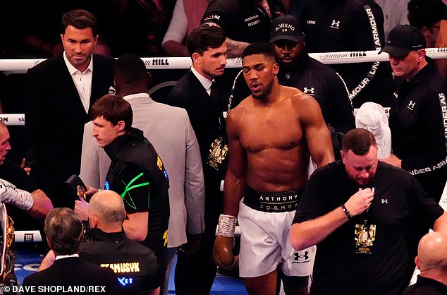 Joshua's promoter Eddie Hearn (top-left) confirmed that the 12th round had indeed covered the distance.