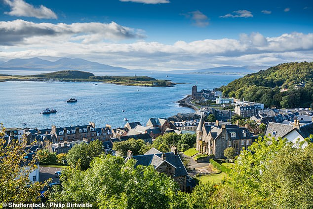 The Hebridean Princess sets sail from Oban, pictured, on a trip around theglorious gardens of Scotland's west coast