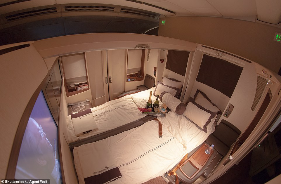 In second place is Singapore Airlines, whichis also honoured with awards for the World's Best First Class and the World's Best First Class Seat. Pictured above is one of the airline's 'suite class' seats