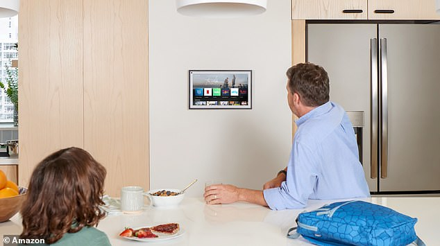 The Echo Show 15 can be mounted in either portrait or landscape orientation and is designed to blend into the surroundings like a photo frame