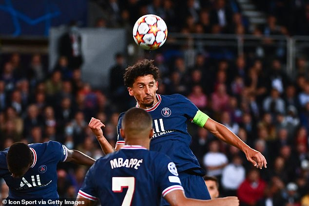 PSG captain Marquinhos was strong in the air when he needed to be at the Parc des Princes