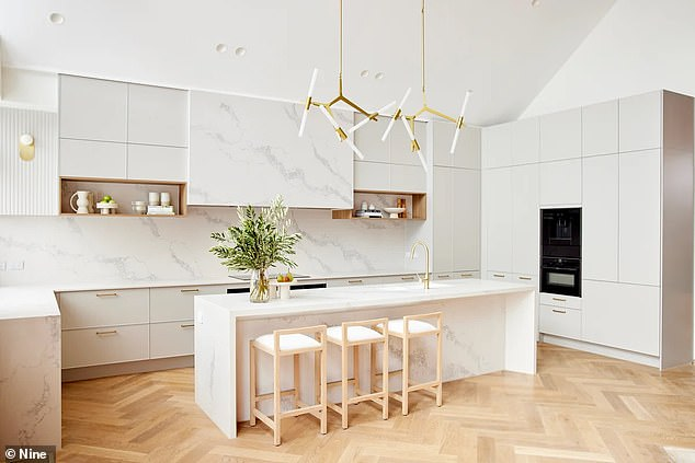 So close: While judge Darren Palmer adored the kitchen, Shaynna Blaze had some reservations about the design, which featured a sink in the middle of the kitchen island