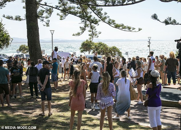 The NSW government has also warned that unvaccinated members of society will be missing out on certain freedoms and activities after December (pictured, freedom rally in Byron Bay on September 18)