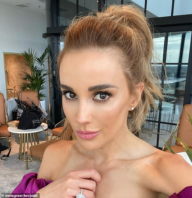 'F**ky head': Rebecca Judd (pictured) copped a surprising earful from one of her twin sons on Wednesday when he unexpectedly blurted out the F-word