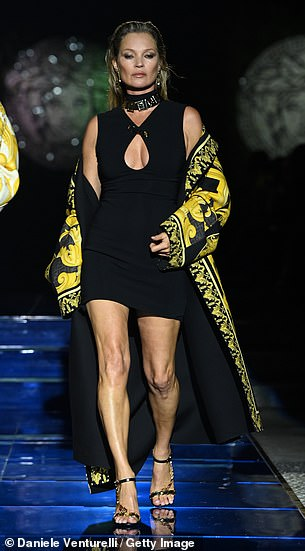 Croydon born Kate rose to fame in the mid 90s and has been part of the fashion set ever since (pictured on Sunday evening)