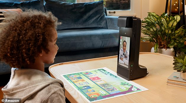 It also launched a children's device called 'Amazon Glow' for £240.  It' combines immersive projection, sensing and video techniques to make it feel like you're having fun in person
