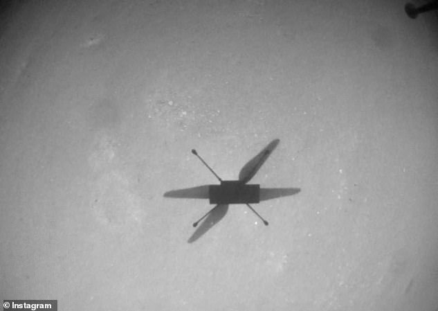 Ingenuity will remain firmly fixed at its location 575ft (175m) away and will communicate its position to the rover weekly.  This image was taken during its tenth flight