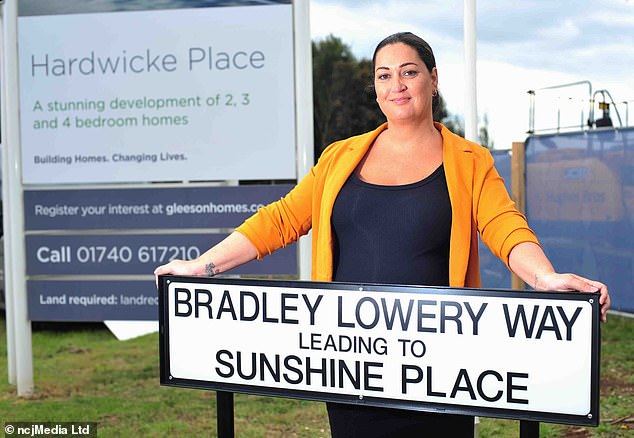 As well as the new street, the youngster's name also lives on through the Bradley Lowery Foundation which helps other children fighting illness up and down the country. Pictured: Gemma Lowery unveiling the new street sign