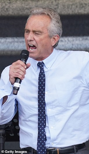 Robert F Kennedy Jr. (speaking during a protest against the measures related to the coronavirus in August 2020) a prolific anti-vaccine campaigner and son of former US Attorney General Robert Kennedy