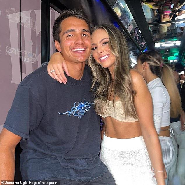 It's over!Brendan Fevola's stepdaughter Mia, 21, (right) announced her shock split from AFL star boyfriend Jamarra Ugle-Hagan, 19, (left) on Thursday