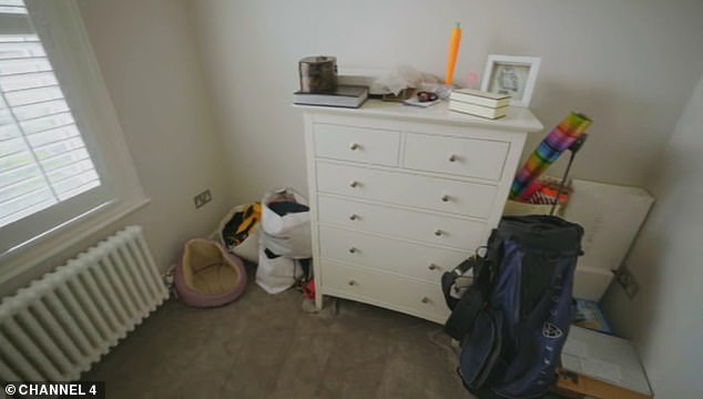 Pictured, the third bedroom that Zach says is 'quieter' than the other bedrooms in the house and plans to convert to his workspace