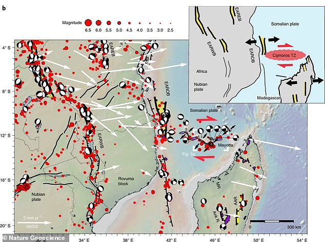 This graphic shows the main rift systems across the region of Africa and Madagascar that led to the rise of new volcanoes