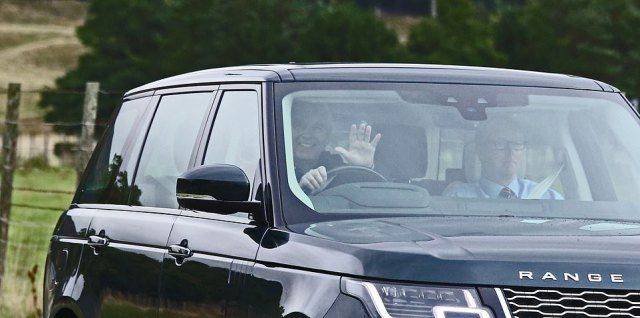 Prince Andrew, 61, was all smiles as he left Balmoral today, three weeks after fleeing to the Scottish estate