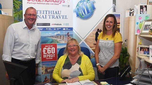 Ann Jones (centre) of Menai Travel in Caernarfon, North Wales, said today she fears losing her staff as furlough comes to an end