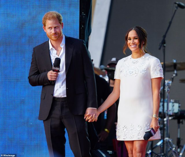 Prince Harry and Meghan Markle speak on stage at Global Citizen Live: New York last Saturday.Their so-called 'adventure' to the Big Apple has been widely dismissed as a monumental flop