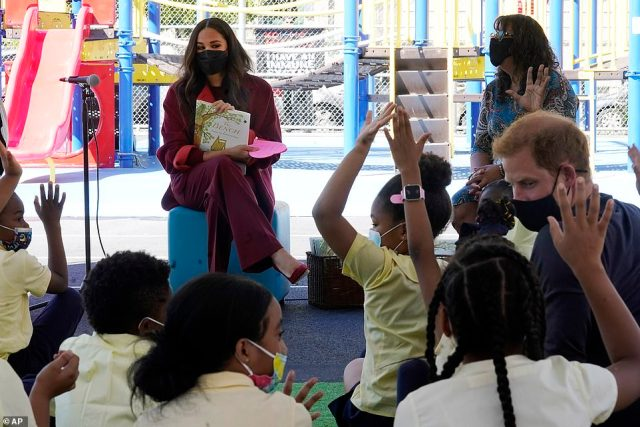 Meghan donned an eye wateringly expensive kaftan-like designer suit to read her own critically panned picture book at one of New York's most underprivileged schools and a succession of ludicrously weather-inappropriate outfits