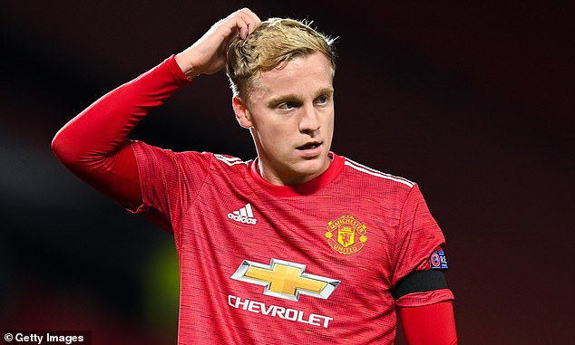 Newcastle are plotting potential moves for Van de Beek (above), Lingard, Martial and Bailly