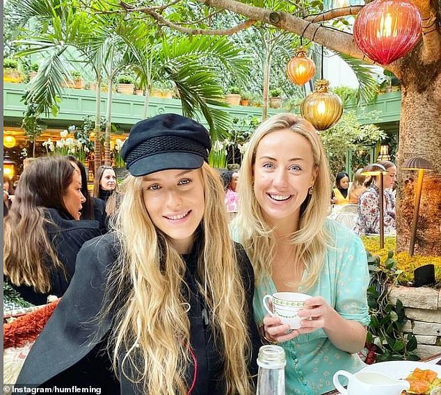 She counts the likes of Lady Kitty Spencer and fashion darling Millie Mackintosh among her closest friends (pictured with Jemima Cadbury)