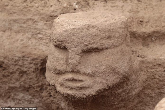 Many of them are 3D sculptures and human depictions, including human heads (pictured), the archaeologists said.